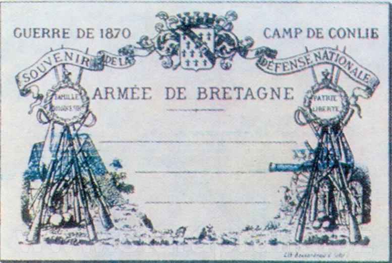 First known printed picture postcard, created at Camp de Conlie, France, in 1870.
