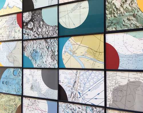 Geo Dis/connect 4, detail, wall installation with collected maps and collage, 2018. Artist Nayda Collazo-Llorens