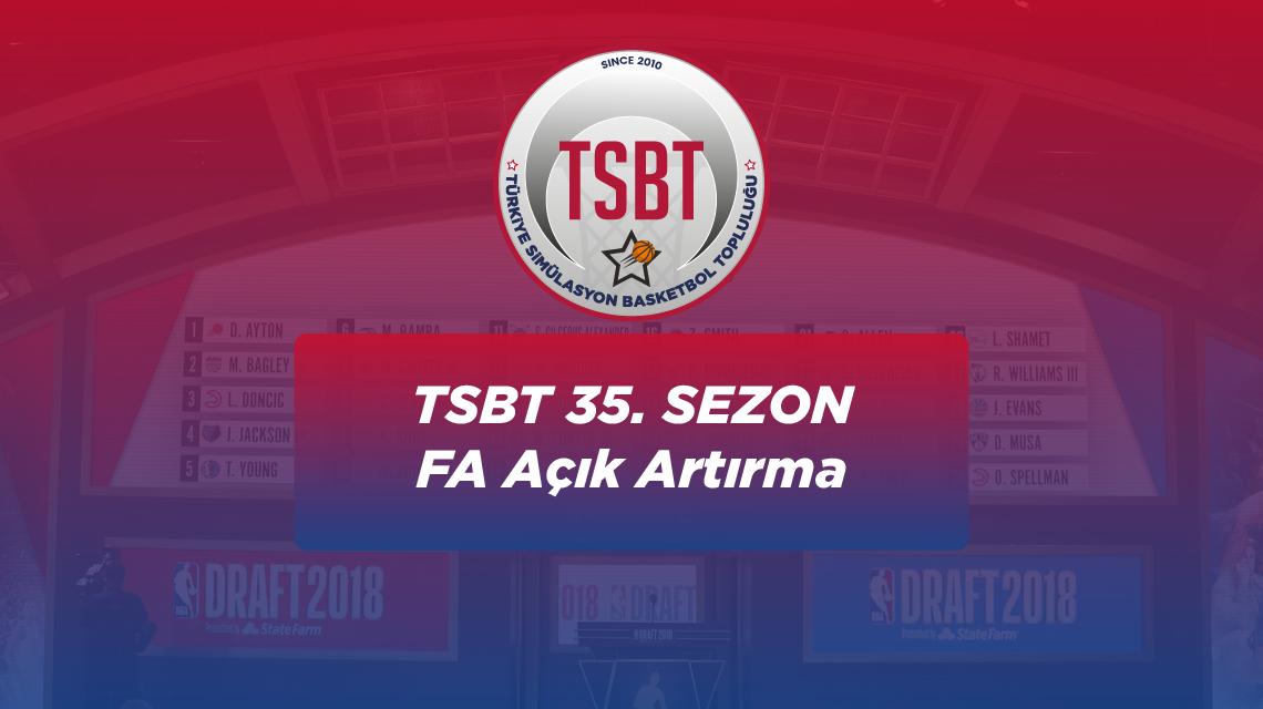 35. Sezon TSBT Free Agent Açık Artırması