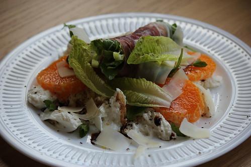 Clementine, prosciutto, mozzarella salad