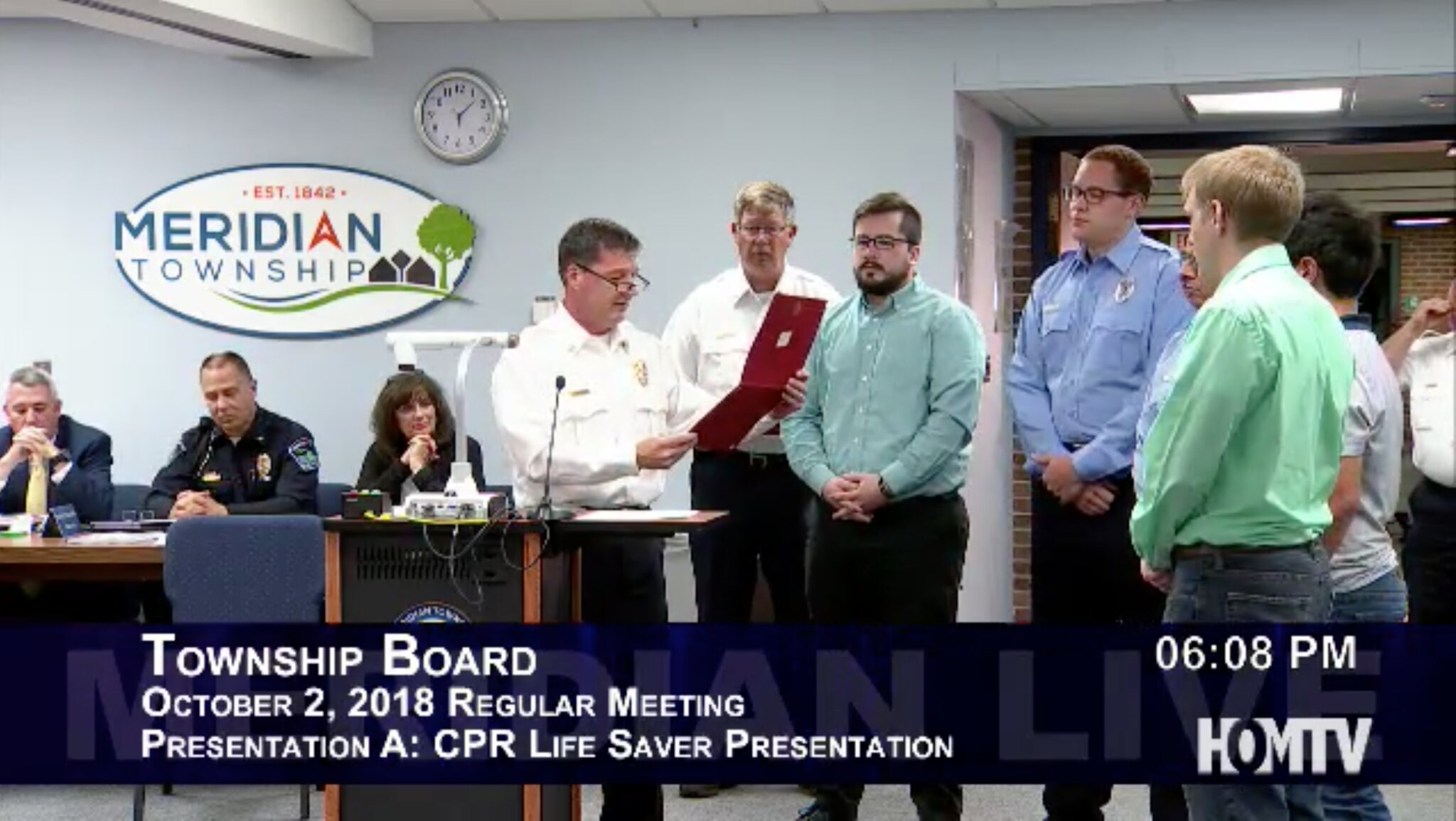 Meridian Township Fire Chief Presents CPR Life Saver Presentation