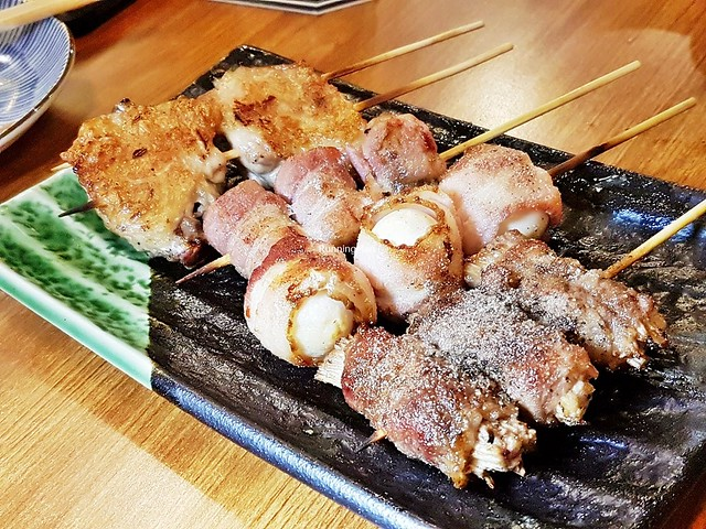 Skewers - Beef With Golden Mushrooms, Bacon Wrapped Quail Eggs, Bacon Wrapped Shiitake Mushrooms, Chicken Wing