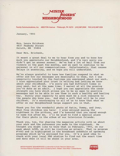 Laura's Letter from Mr. Rogers, page 1