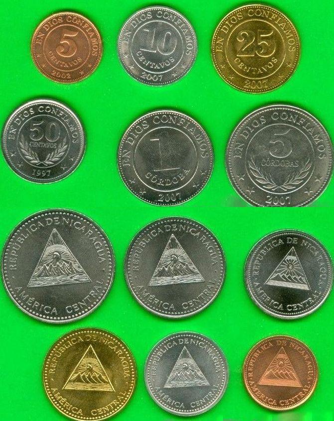 Nikaragua 5-10-25-50 Centavos 1-5 Cordobas 1997-2007