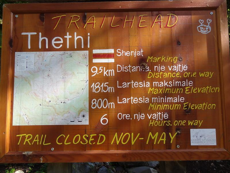 Journey to Valbona (JtV) trailhead information board, for the Valbonë - Valbona Pass / Qafa e Valbonës (1860 m) - Thethi route