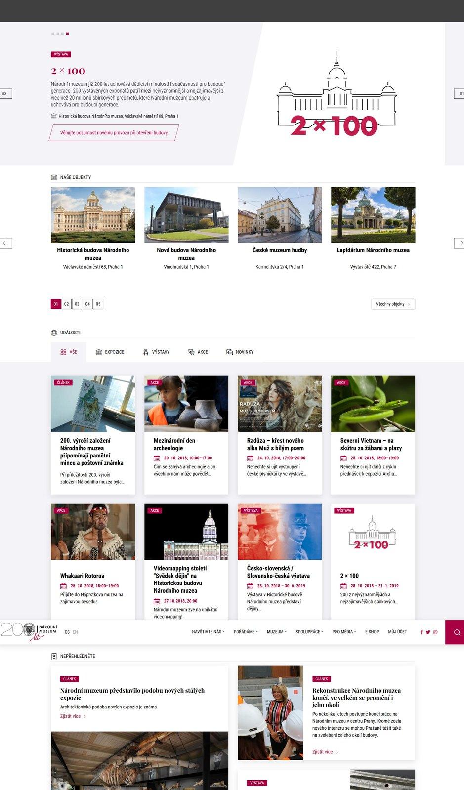 Web Národního muzea vynoven (20181019)