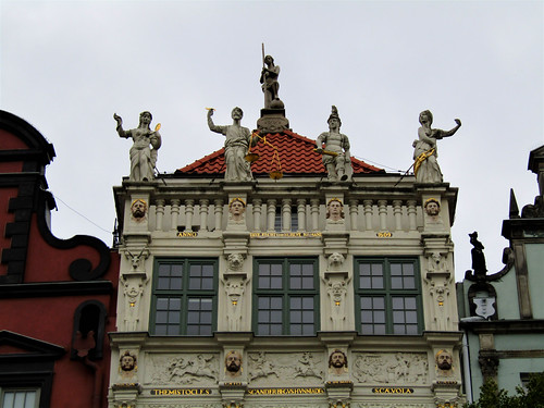 statues on house of Long Market in Gdansk