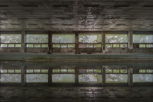 Indoor swimming pool inside an abandoned Soviet base