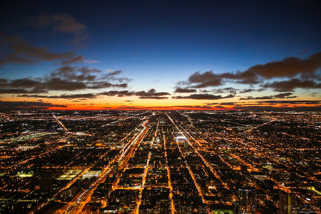 Twilight view from the Willis Tower
