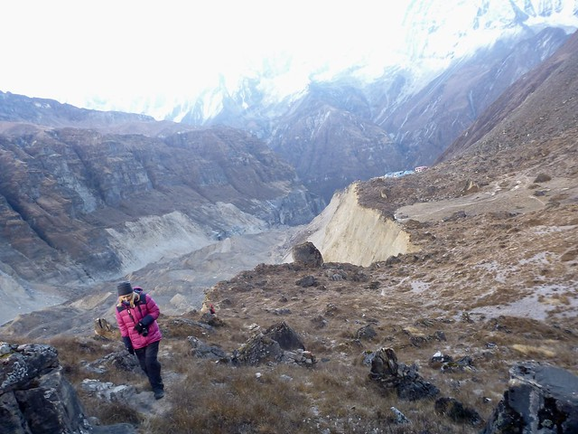 Exploring Annapurna glacier above, Panasonic DMC-FT3