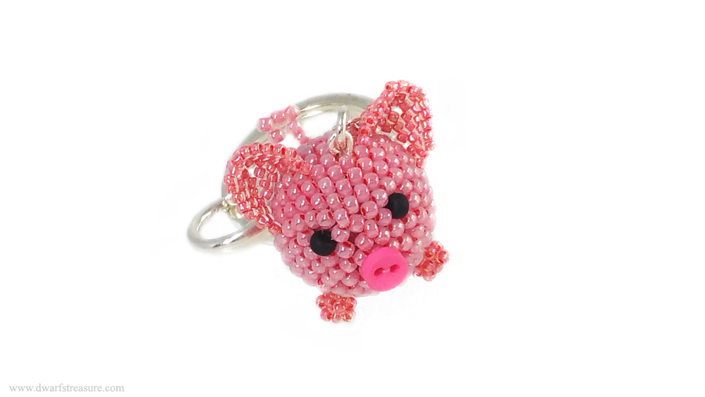 Cute beaded pink pig for 2019