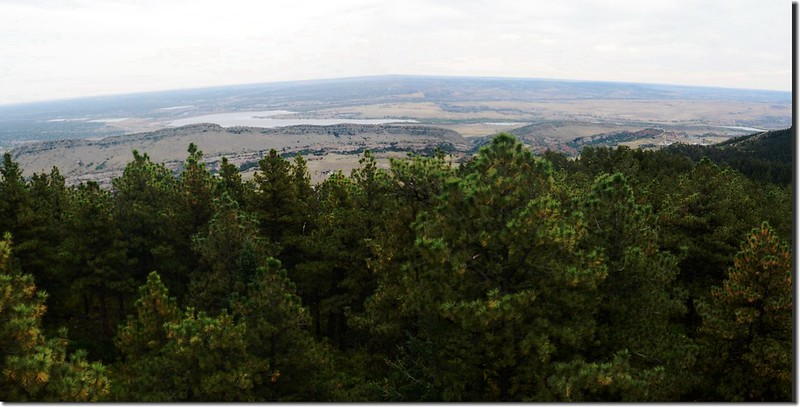 Looking down at Chatfield Lake from Plymouth Mountain summit
