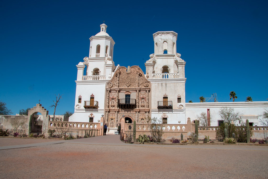 Exterior of Mission San Xavier in Tucson, Arizona