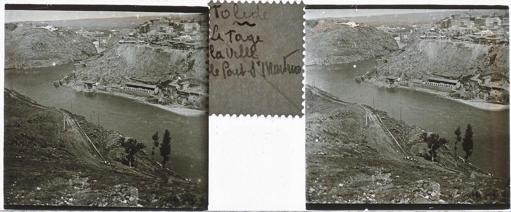 Vista del Tajo y parte de la ciudad de Toledo desde el Valle  hacia 1935. Cristal estereoscópico de autor anónimo francés. Colección de Eduardo Sánchez Butragueño