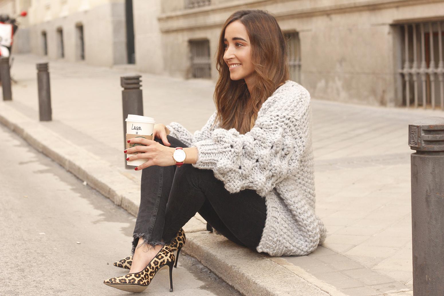 Grey cardigan black jeans folli folie watch leopard print heels starbucks tea street style fall outfit 201812