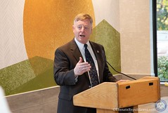 MONTVILLE, Conn. – Today Dick and Kathryn Spero joined with their staff, corporate and public officials to celebrate the grand re-opening of their completely remodeled and modernized McDonald's restaurant on the Norwich-New London Turnpike. Speakers at the event included State Senator Paul Formica, State Representative Mike France, State Representative Kathleen McCarty, Montville Mayor Ronald McDaniel and Montville Social Services Director, Kathy Doherty-Peck who was presented with a check from the Spero's for $250.00 to benefit the Montville Food Pantry.  November 13, 2018. (Photos Joseph Lemieux- CT Senate Republicans)