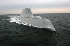 The future USS Michael Monsoor (DDG 1001) sails through the Atlantic during acceptance trials earlier this year. (U.S. Navy/Bath Iron Works)