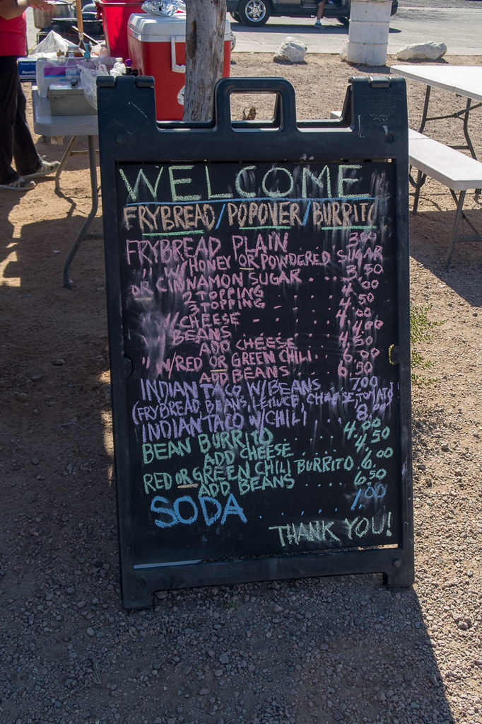 Frybread menu at Mission San Xavier