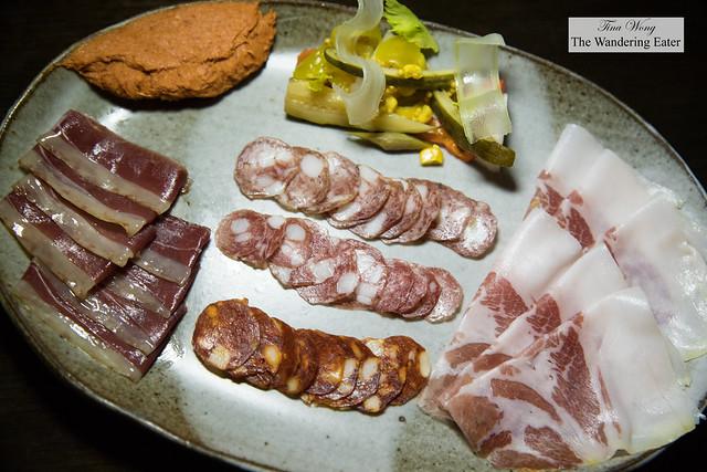 House made charcuterie - duck speck, nduja, coppa seca, Spanish chorizo, Negroni salami, Fuet salami