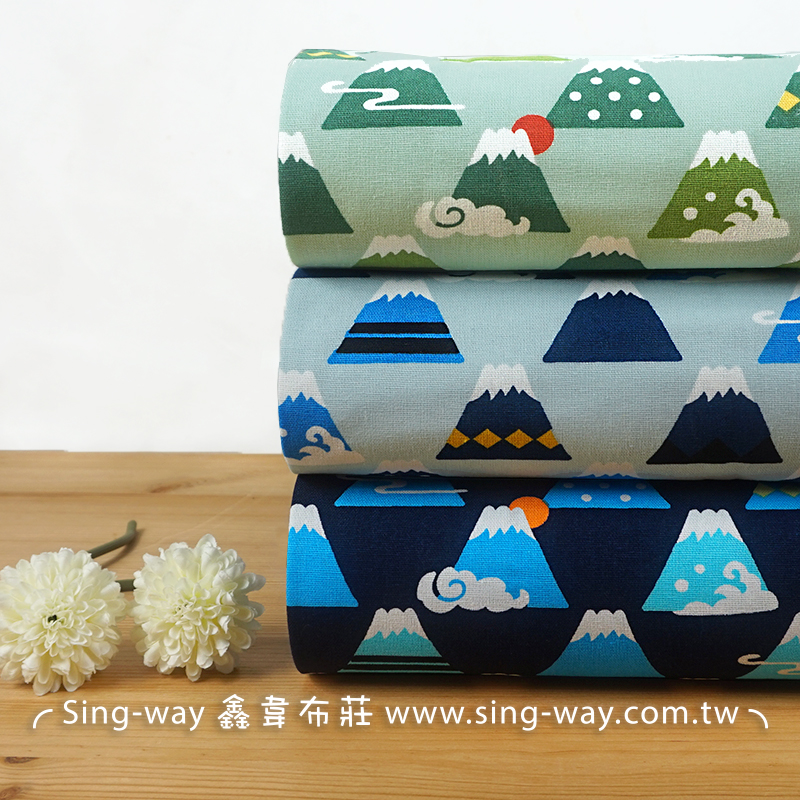 富士山(大特價) 高山 日本 下雪 群山環繞 -43 卡通風 手工藝DIY布料 CF550718