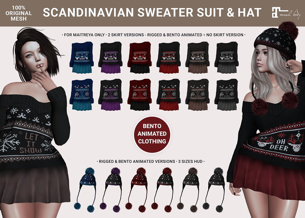 SEmotion x Libellune Scandinavian Swetear Suits and Pompom Hats [Bento Animated] @ Collabor88