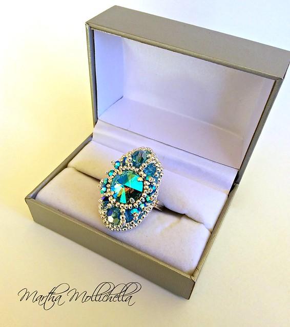 Swarovski crystals handmade ring
