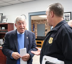 Rep. Storms speaks with Windsor Locks Police representatives