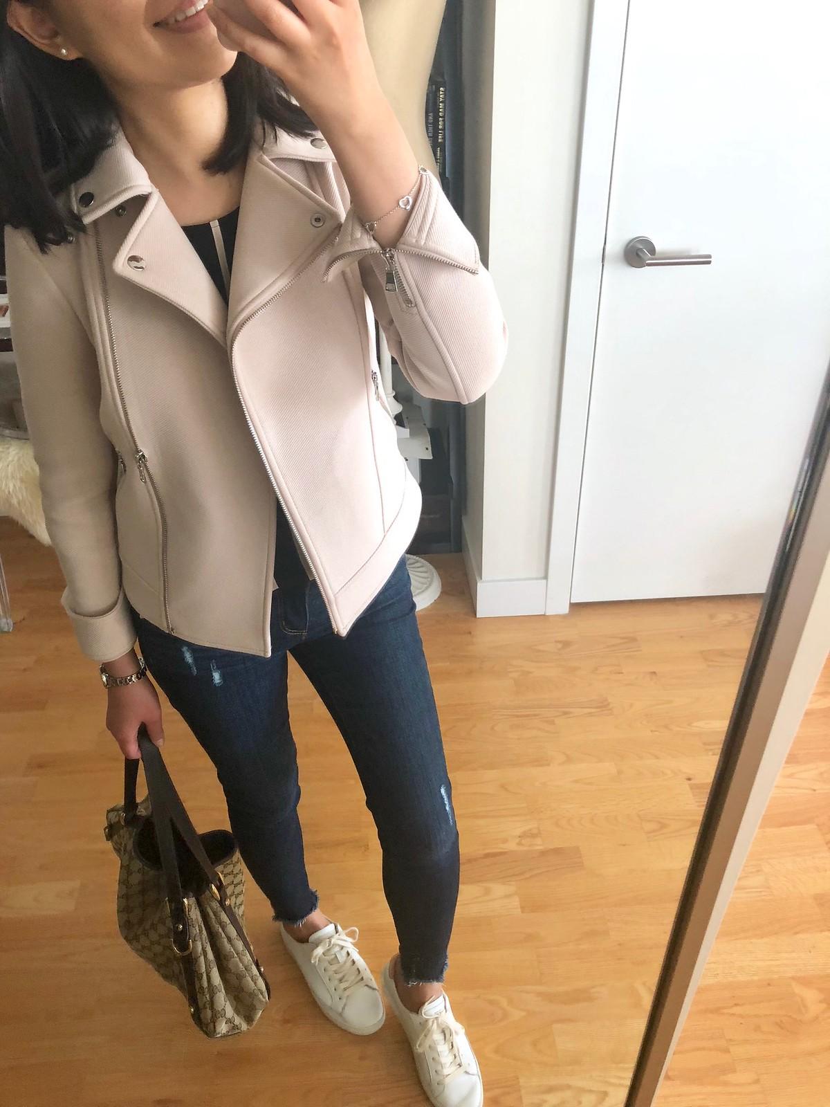 Ann Taylor Knit Twill Moto Jacket, size 00P