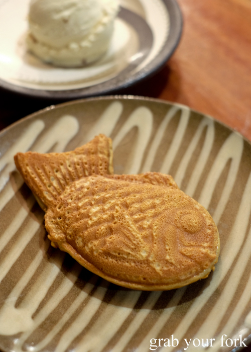 Red bean taiyaki with sobacha ice cream at Gogyo by Ippudo in Surry Hills Sydney