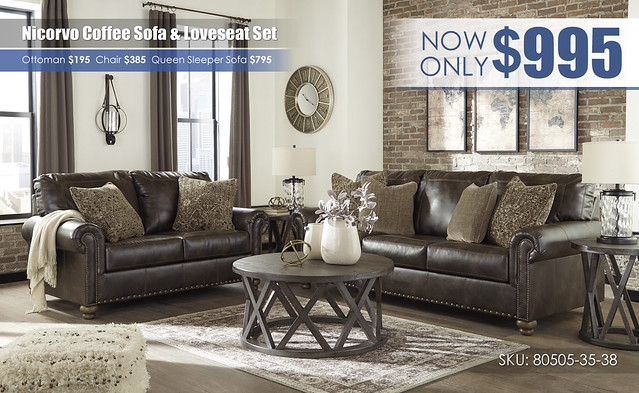 Nicorvo Coffee Sofa & Loveseat_80505-38-35-T711