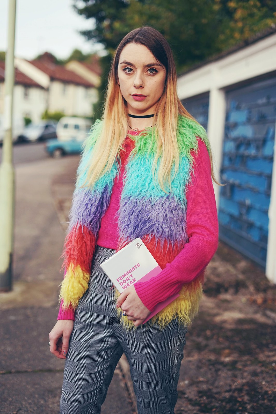 Topshop Rainboy Fluffy Gilet and Feminists Don't Wear Pink