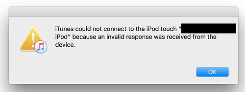 iTunes could not connect - edit