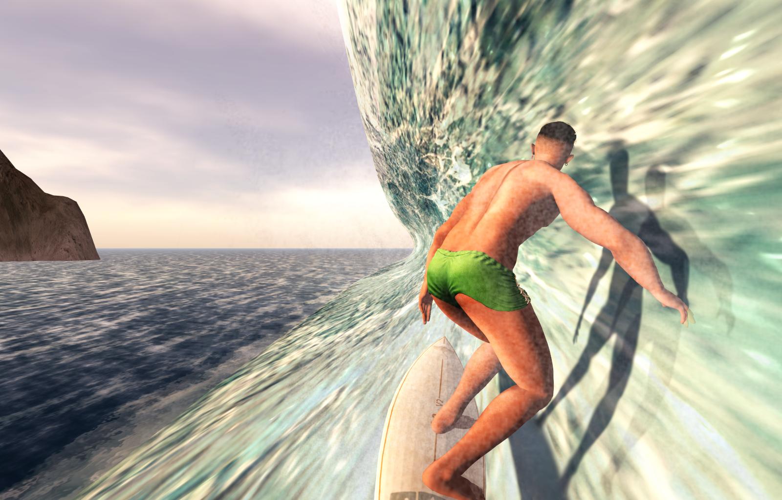 Randy surfing