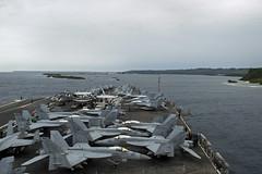 USS Ronald Reagan (CVN 76) approaches U.S. Naval Base Guam, Sept. 24. (U.S. Navy/MCSN Codie L. Soule)