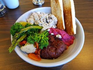 Kickstarter Bowl (tofu scramble, citrus kale, winter vegetables, pickles, pakora, beetroot hummus) and bagette at Let Minnow