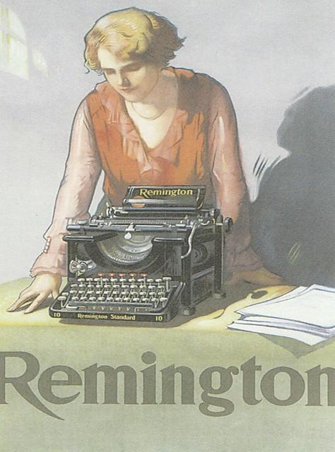 Publicité vintage pour les machines à écrire Remington