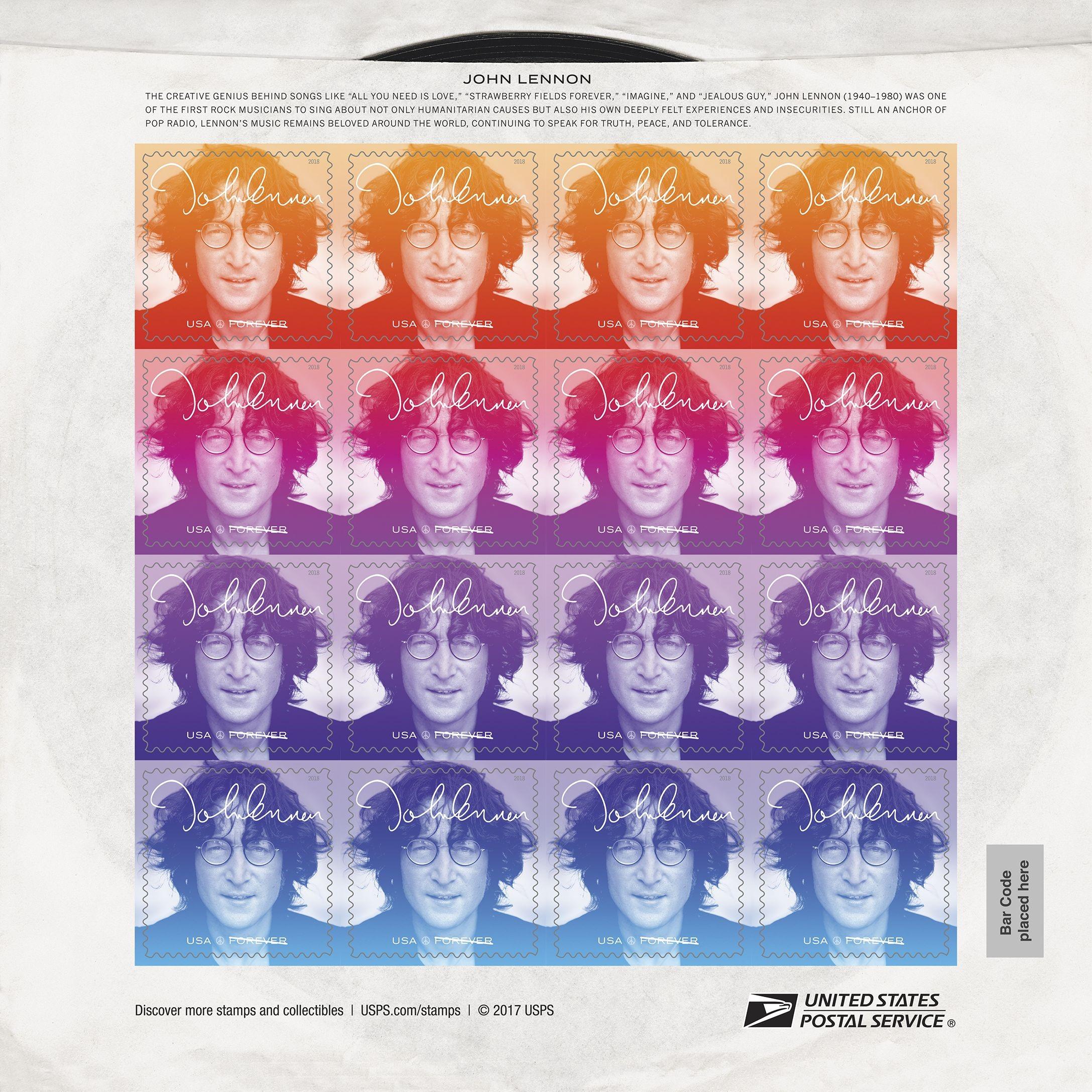 Full pane of 2018 John Lennon stamps from USPS publicity image