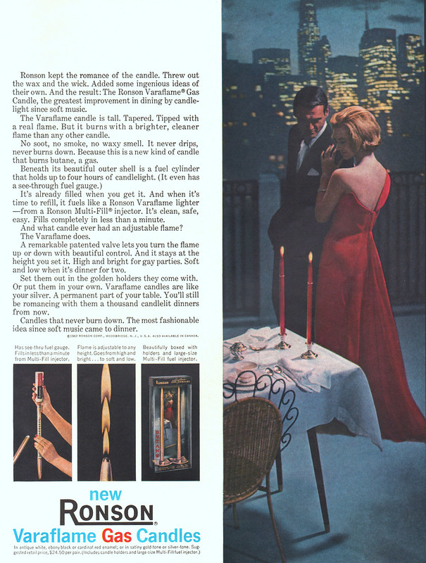 Ronson Varaflame Gas Candle 1963