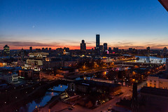 Вид на вечерний Екатеринбург из жилого дома Кандинский