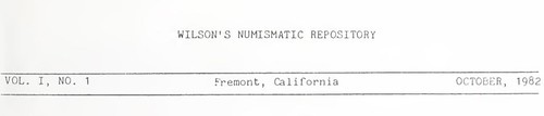Wilson's Numismatic Repository masthead