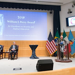 Ju, 09/20/2018 - 14:36 - On Thursday, September 20, 2018, the William J. Perry Center for Hemispheric Defense Studies honored General Salvador Cienfuegos Zepeda, Secretary of National Defense of Mexico, and Escola Superior de Guerra (ESG), National War College of Brazil, with the 2018 William J. Perry Award for Excellence in Security and Defense Education. Named after the Center's founder, former U.S. Secretary of Defense Dr. William J. Perry, the Perry Award is presented annually to individuals who and institutions that have made significant contributions in the fields of security and defense education. From the many nominations received, awardees are selected for achievements in promoting education, research, and knowledge-sharing in defense and security issues in the Western Hemisphere. Awardees' contributions to their respective fields further democratic security and defense in the Americas and, in so doing, embody the highest ideals of the Center and the values embodied by the Perry Award.