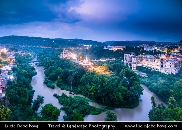 Bulgaria - Veliko Tarnovo - Yantra River Meander at Dusk - Twilight - Blue Hour - Night