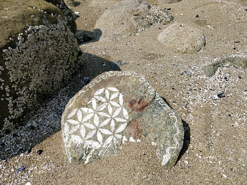 Beautiful decorated rock near Sunset Beach