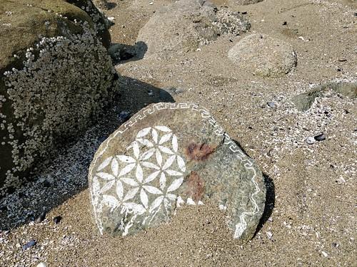 Beautiful decorated rock near Sunset Beach