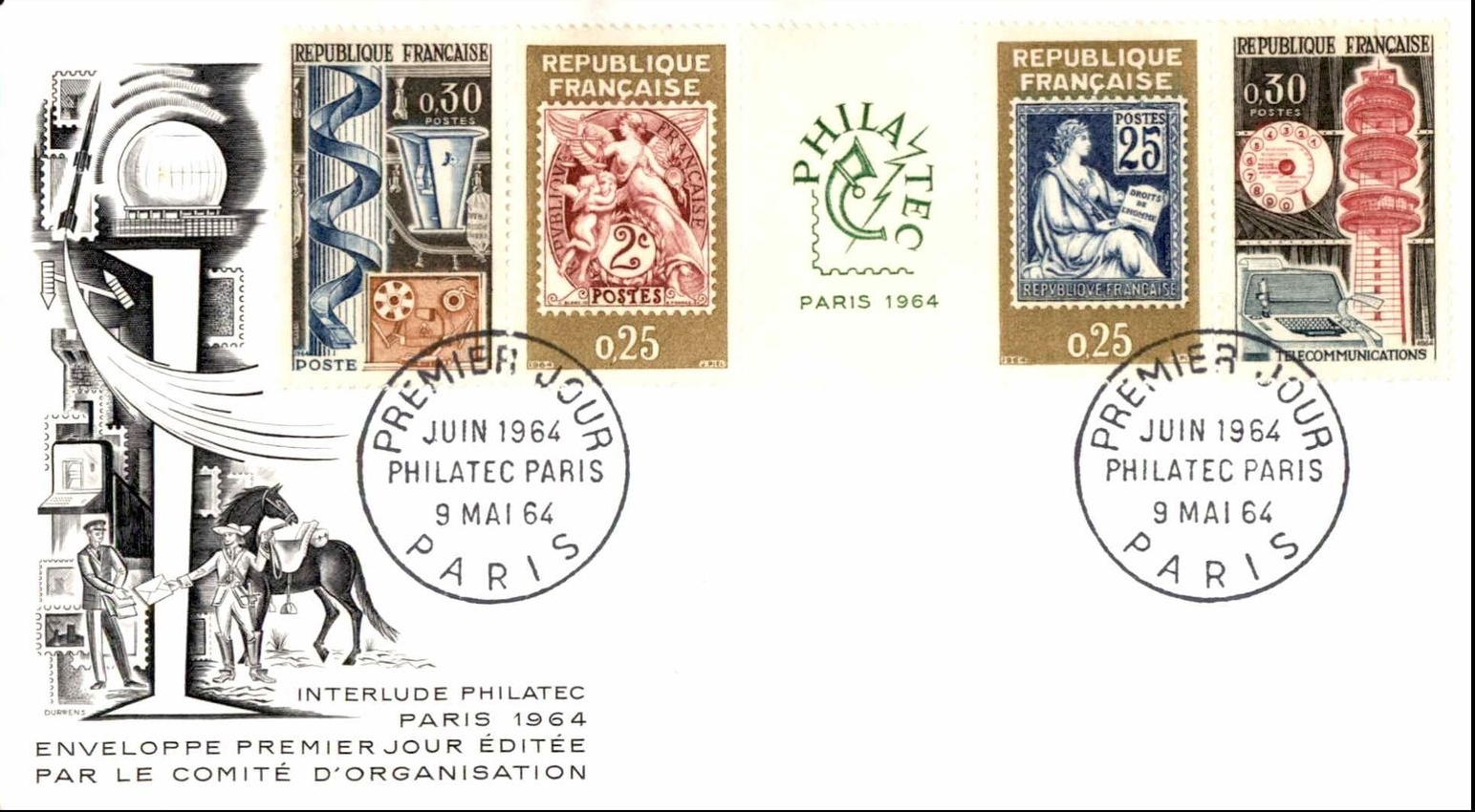 France - Scott #1085-1088 (1964) first day cover
