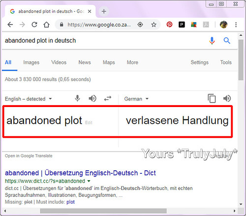 Google Translate gets it wrong: 'Abandoned Plot' does not mean 'Verlassene Handlung'.