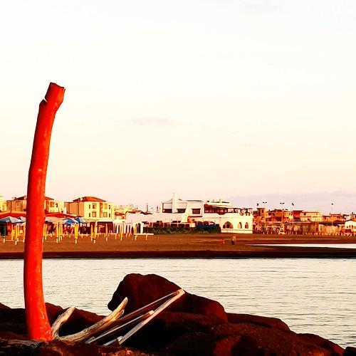 Fiumicino: tramonto sul mare