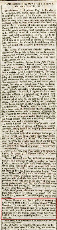 Thomas Casburn convicted Camb Oct Sessions 1822 Camb Chronicle 25Oct1822 marked