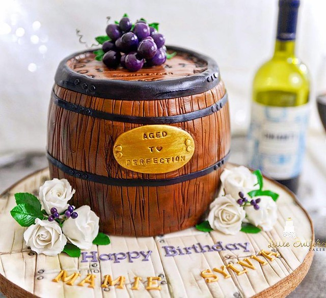 Wine Barrel Cake by Little Buttercup Cakery