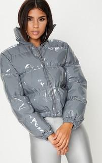 Vinyl puffer coat